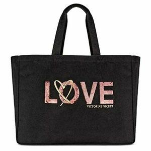Victoria's Secret LOVE Sequined Black Tote Bag